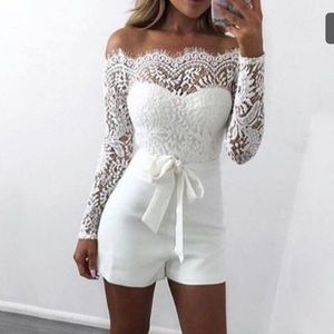 Dresses & Skirts - White long sleeve lace romper